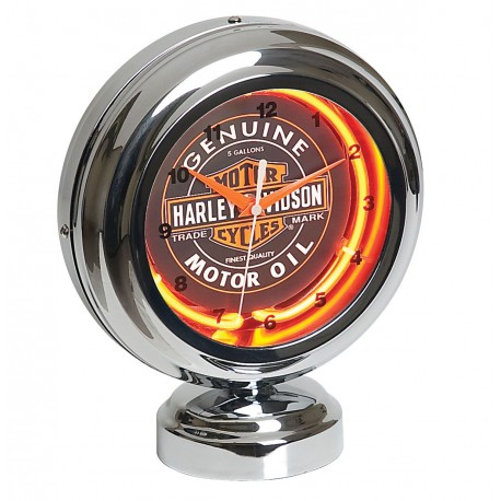 Harley-Davidson Oil Can Table Top Neon Clock
