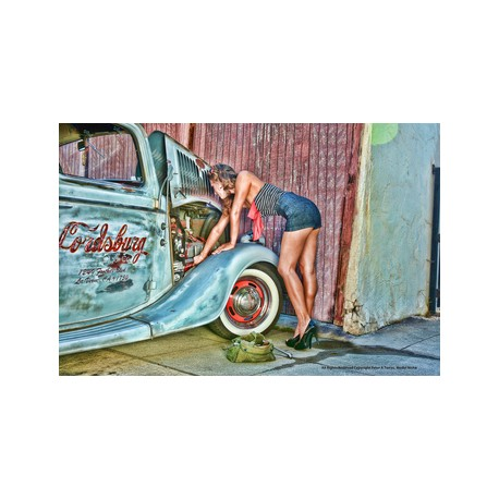 Girl fixing the truck